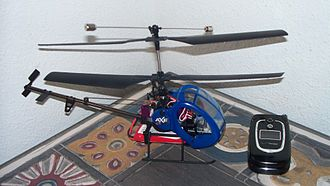 Coaxial rotors - Heli-Max Axe Micro CX, a micro-sized coaxial model helicopter. Note that the tail rotor on this model is angled upwards, giving the operator forward and aft control, rather than countering main rotor torque.