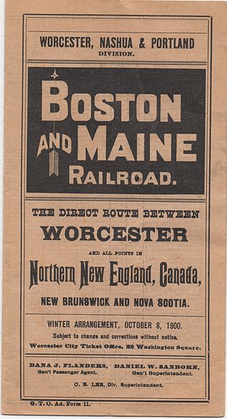 Worcester, Nashua and Rochester Railroad - Image: B&M WNP 1900 TT