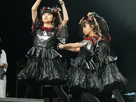 Kawaii metal pioneers Babymetal, performing in the O2 Arena London in 2016. BABYMETAL, O2 Arena, London (31480784365).jpg