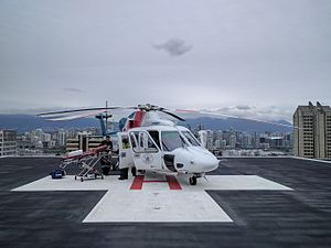 Vancouver General Hospital - BCEHS critical care team on the helicopter pad on the top of Vancouver General Hospital following the offloading of a patient.