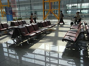 BJ 北京首都國際機場 Beijing Capital International Airport BCIA interior waiting room seats Aug-2010.JPG