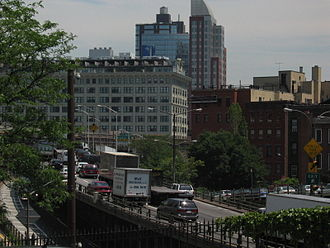 Interstate 278 - The expressway rising to its elevated section in Brooklyn