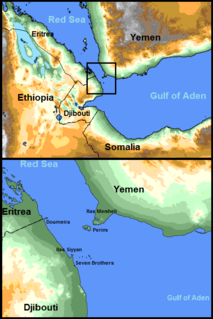 Bab-el-Mandeb strait located between Yemen on the Arabian Peninsula, and Djibouti and Eritrea in the Horn of Africa