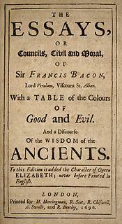 <i>Essays</i> (Francis Bacon) book by Francis Bacon