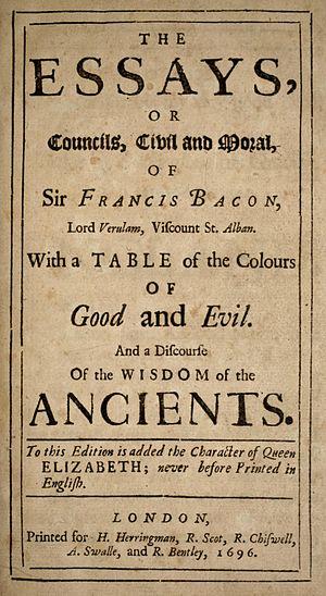 Essays (Francis Bacon) - Image: Bacon Essays 1696