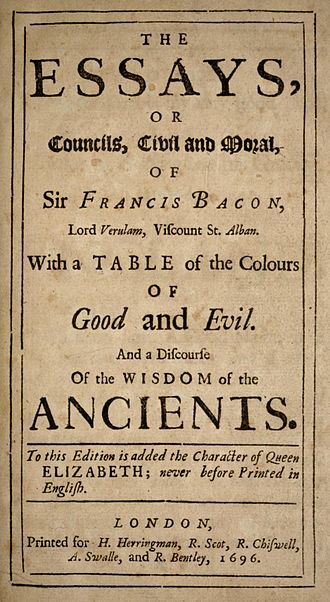 Essays (Francis Bacon) - Image: Bacon Essays 1696