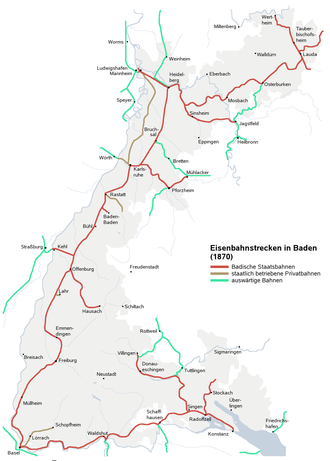 Grand Duchy of Baden State Railway - Plan of the railway lines in Baden 1870