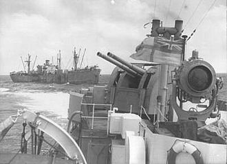 HMS Badsworth (L03) - Badsworth on 14 April 1943 escorting a Liberty-ship en route to North Africa.