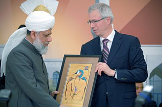 Baitun Nur Mosque - Masroor Ahmad (left) and Liberal Opposition Leader Stephane Dion at the opening inauguration of the Baitan Nur mosque on July 5, 2008