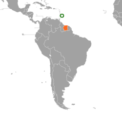Map indicating locations of Barbados and Suriname
