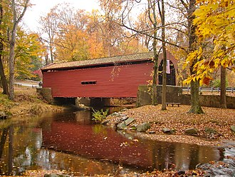 Delaware County, Pennsylvania - Bartram's Covered Bridge, built 1860 west of Newtown Square, crosses Crum Creek into Chester County.