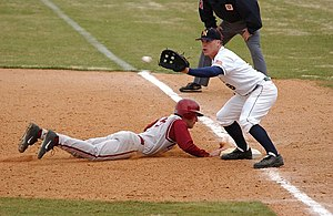 Baseball rules - Pick-off attempt on runner (in red) at first base