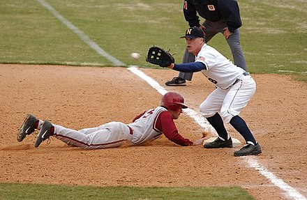 A first baseman receives a pickoff throw, as the runner dives back to first base. Baseball pick-off attempt.jpg