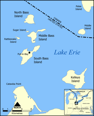 Rattlesnake Island (Lake Erie) - Location of Rattlesnake Islands in the Bass Islands.
