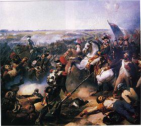 La bataille de Fleurus, victoire française du général Jourdan, le 26/juin/1794, contre l armée autrichienne menée par les princes de Cobourg et d Orange (à droite de Jourdan, Saint-Just en mission, derrière lui Kléber, Championnet et Marceau), peinture à l huile de Jean-Baptiste Mauzaisse (1837), conservée au musée du château de Versailles.