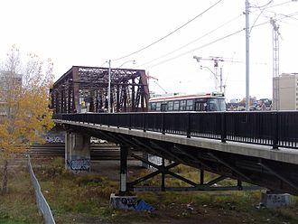 Bathurst Street (Toronto) - A streetcar travels south on Bathurst on the Sir Isaac Brock Bridge above the railway lands. The bridge was over the Humber River.