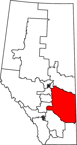 Battle River—Crowfoot - Battle River–Crowfoot in relation to other Alberta federal electoral districts as of the 2013 Representation Order.