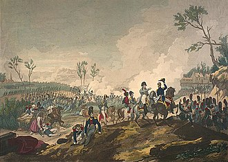 Six Days' Campaign - Lithographie of the Battle of Montmirail—one of the battles in the campaign.