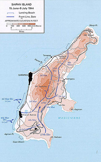 Battle of Saipan - Map showing the progress of the Battle of Saipan