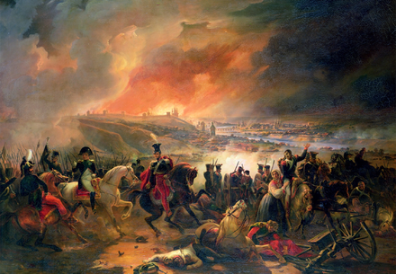 Napoleon and Poniatowski before the burning city of Smolensk Battle of Smolensk 1812.png