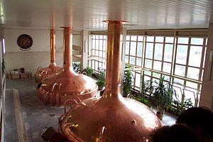 Budweiser Budvar Brewery - Historical beer vats inside the brewery