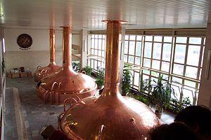 Budweiser Budvar Brewery - Historical beer vats inside the brewery
