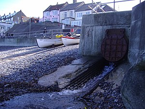 Beeston Beck (Norfolk) - The outfall of Beeston Beck on Sheringham's east beach