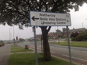 Belle Vale, Liverpool - Sign indicating Belle Vale Shopping Centre from Childwall