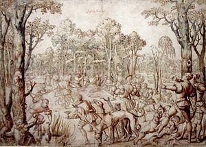 Bernard van Orley - Design for one of the Hunt of Maximilian tapestries