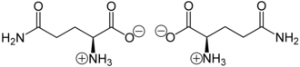 Glutamine - Glutamine zwitterionic forms at neutral pH: L-glutamine (left) and D-glutamine