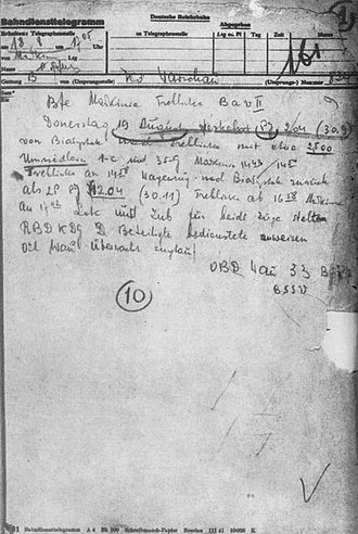 Białystok Ghetto - Telegram from DRB about the last Jewish transport of 35 freight cars from Białystok to Treblinka extermination camp, departing August 18, 1943. It was the last death-train before the camp closure.