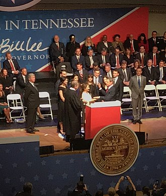 Bill Lee (Tennessee politician) - Governor Bill Lee taking the oath of office.