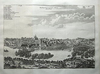 Palembang - The walled city of Palembang with its three fortresses in 1682.