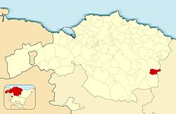 Location of Zaldibar in Biscay.