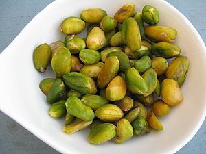 Freshly blanched pistachios for dessert cooker...