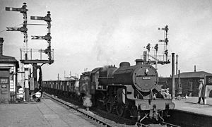 Bletchley railway station - Up freight on West Coast Main Line at Bletchley in 1964
