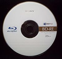 A blank rewritable Blu-ray Disc (BD-RE)