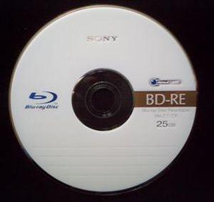 Blu-ray - A blank rewritable Blu-ray Disc (BD-RE)