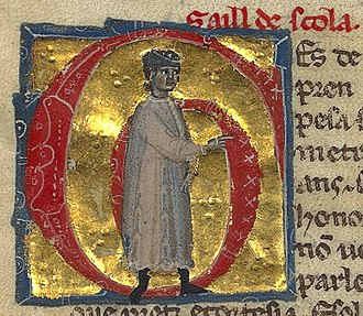 """Salh d'Escola - Salh's named is spelled """"Saill de Scola"""" in the manuscript. Here he is depicted young."""