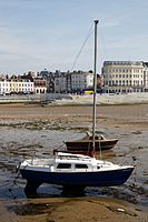 Boats at low tide in the harbour of Margate Kent England 3.jpg