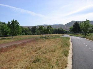 Boise greenbelt - Approaching Warm Springs Golf Course and Municipal Park, NE 2.1; Table Rock is in the background