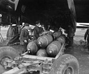 Bombing up 106 Squadron Lancaster WWII IWM CH 12541