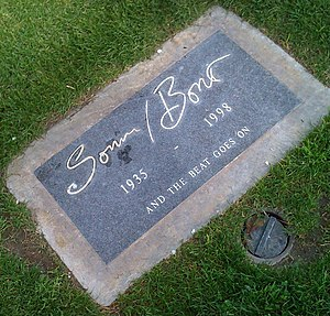 "Sonny Bono - Sonny Bono's headstone at Desert Memorial Park in Cathedral City, California. The epitaph reads: ""AND THE BEAT GOES ON""."