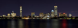 The skyline of Boston, MA at night