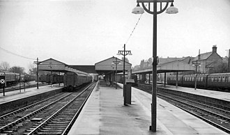 Bournemouth West railway station - View eastward, to buffer-stops; terminus of ex-LSWR main line from London in 1963