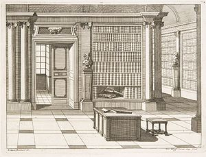 Interior portrait - Library project, c.1700. Engraving by Johann Boxbarth (fl.1690–1710)