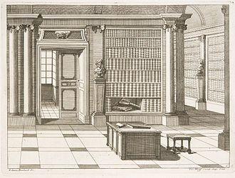 Interior portrait - Library project, c.1700. Engraving by Johann Boxbarth (fl.1690–1710)