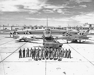 4925th Test Group - 4925th Test Group (Nuclear) at Kirtland Air Force Base in New Mexico. In addition to two B-47s (not pictured), the group's fleet included two Boeing B-52s (one is pictured in the rear) and three fighters — from left, a Lockheed F-104, a Fiat G-91, and a North American F-100.