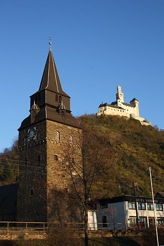 Braubach - St Barbara with the Marksburg above town