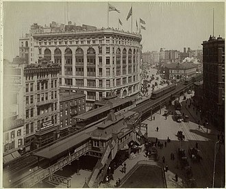 The Herald Square Saks & Co. store in 1903, behind the 33rd Street station Broadway and 33rd.jpg